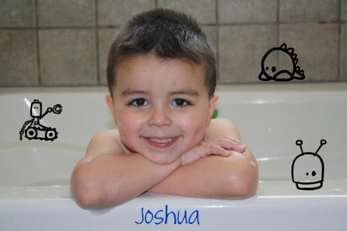 Joshie in the bathtub!